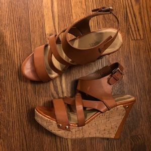 MICHAEL Michael Kors man made leather brown wedges